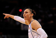 Aug 26, 2010; Phoenix, AZ, USA; Phoenix Mercury guard Diana Taurasi (3) reacts on the court while playing the San Antonio Silver Stars during the first half in game one of the western conference semi-finals in the 2010 WNBA Playoffs at US Airways Center.  Mandatory Credit: Jennifer Stewart-US PRESSWIRE