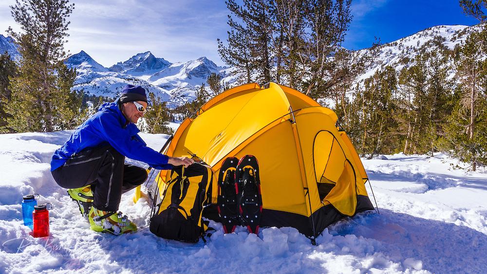 Yellow dome tent and backcountry skier, John Muir Wilderness, Sierra Nevada Mountains, California  USA