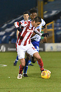 Bury Midfielder, Rohan Ince (30) and Stoke City U23's Midfielder, Daniel Jarvis (44)  during the EFL Trophy match between Bury and U23 Stoke City at the JD Stadium, Bury, England on 8 November 2017. Photo by Mark Pollitt.