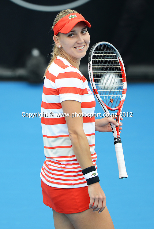 Elena Vesnina (RUS) during her quarter final singles match at the ASB Classic. ASB Tennis Centre, Auckland. New Zealand. Thursday 3 January 2013. Photo: Andrew Cornaga/Photosport.co.nz