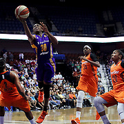 UNCASVILLE, CONNECTICUT- JULY 15:  Nneka Ogwumike #30 of the Los Angeles Sparks fouls Camille Little #2 of the Connecticut Sun as she drives to the basket  during the Los Angeles Sparks Vs Connecticut Sun, WNBA regular season game at Mohegan Sun Arena on July 15, 2016 in Uncasville, Connecticut. (Photo by Tim Clayton/Corbis via Getty Images)