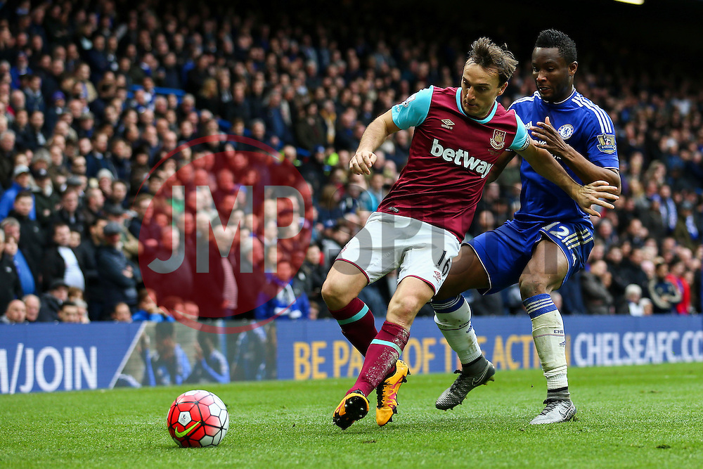 Mark Noble of West Ham United under pressure from Mikel John Obi of Chelsea - Mandatory byline: Jason Brown/JMP - 19/03/2016 - FOOTBALL - London, Stamford Bridge - Chelsea v West Ham United - Barclays Premier League