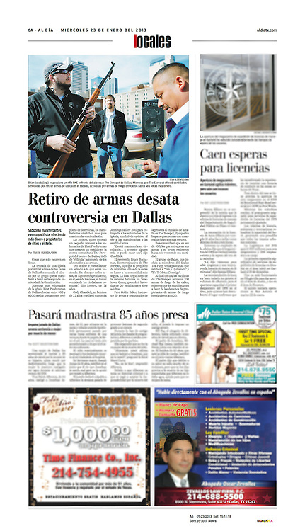 The Dallas Morning News - Al Dia, Local, 6A, January 23, 2013.