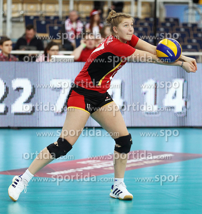 04.01.2014, Atlas Arena, Lotz, POL, FIVB, Damen WM Qualifikation, Belgien vs Schweiz, im Bild ILKA VAN DE VYVER SYLWETKA // ILKA VAN DE VYVER SYLWETKA during the ladies FIVB World Championship qualifying match between Belgium and Switzerland at the Atlas Arena in Lotz, Poland on 2014/01/05. EXPA Pictures &copy; 2014, PhotoCredit: EXPA/ Newspix/ Maciej Goclon<br /> <br /> *****ATTENTION - for AUT, SLO, CRO, SRB, BIH, MAZ, TUR, SUI, SWE only*****
