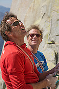 "Peter Croft (on left) and Conrad Anker at a belay ledge on ""Fancy Free"" on ""The Charlatan"" in The Needles of California."