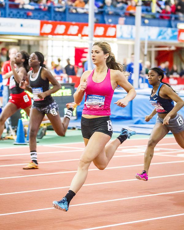 girl's 60 meter semifinal heat 2, winner Hannah Cunliffe