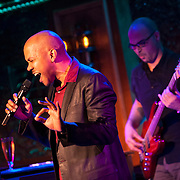 December 4, 2012 - New York, NY : Actor and singer Darius de Haas, left, performs at the nightclub 54 Below in Manhattan on Tuesday evening. In the background is bassist George Farmer. CREDIT: Karsten Moran for The New York Times