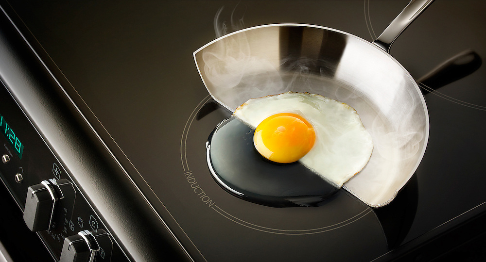 Image commissioned by Peter Lawson at Which Magazine illustrating that oscillating magnetic field of the induction cooker heats up only the metal cookware and not top surface the hob. The heat is only generated by the metal of the pan as the surface of the cooker stays cold.