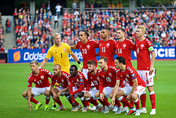 AARHUS, DENMARK - Sunday, September 9, 2018: Denmark players line-up for a team group photograph before the UEFA Nations League Group Stage League B Group 4 match between Denmark and Wales at the Aarhus Stadion. Back row L-R: goalkeeper Kasper Schmeichel, Yussuf Poulsen, Mathias Jørgensen, Henrik Dalsgaard, Simon Kjær. Front row L-R: Jens Stryger Larsen, Martin Braithwaite, Pione Sisto, Lasse Schöne, Christian Eriksen, Thomas Delaney. (Pic by David Rawcliffe/Propaganda)