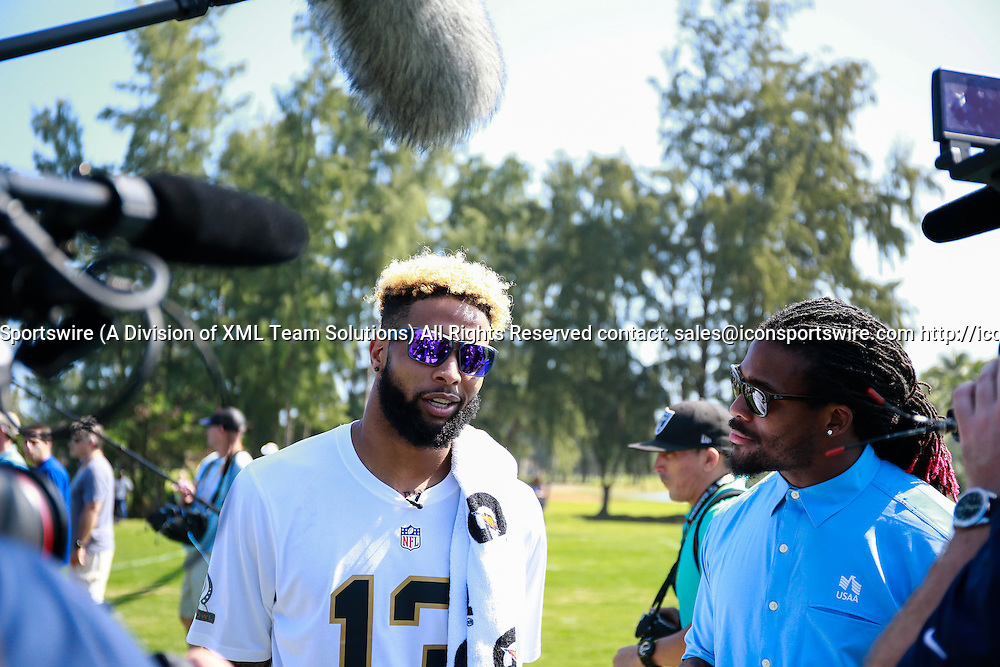 January 29 2016: Team Rice Odell Beckham Jr. is interviewed after the Pro Bowl practice at Turtle Bay Resort on Oahu, HI. (Photo by Aric Becker/Icon Sportswire)