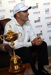©  licensed to London News Pictures. . UK.20/05/2011    Today.Thomas Levet Ryder Cup Player . with the trophy at Golf Live Event, held at The London Golf Club Kent. .Please see special instructions..Picture credit should read Grant Falvey/LNP......