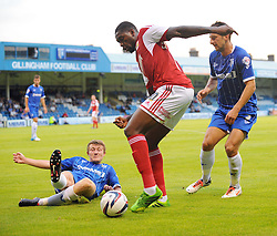Bristol City's Jay Emmanuel-Thomas looks to takes on the Gillingham defence - Photo mandatory by-line: Seb Daly/JMP - Tel: Mobile: 07966 386802 06/08/2013 - SPORT - FOOTBALL - Priestfield Stadium - Gillingham -  Gillingham V Bristol City - Capital One Cup - First Round