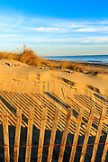 Send fence and shadows on the beach at Nags Head, Outer Banks NC.