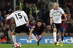 14.03.2010, Camp Nou, Barcelona, ESP, Primera Divison, FC Barcelona vs Valencia, im Bild Barcelona's player Lionel Messi (C) and Valencia's  Dealbert (L) and Bruno (R), EXPA Pictures © 2010, PhotoCredit: EXPA/ Alterphotos
