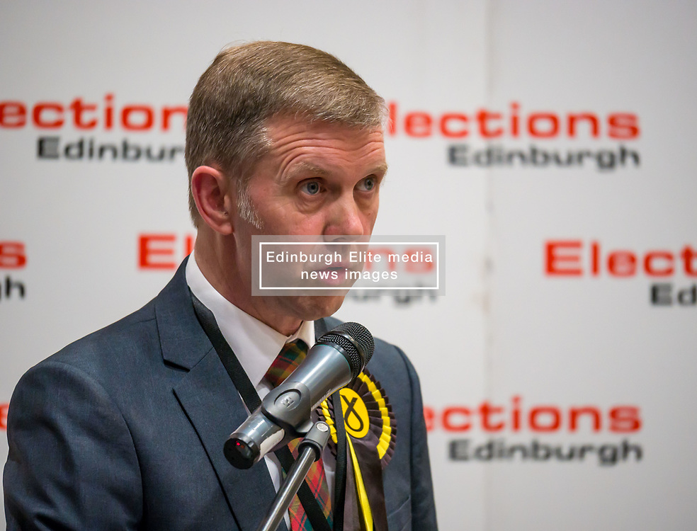 Pictured: Leith Walk Council By-Election. Edinburgh City Council, Edinburgh, Scotland, 11 April 2019. Pictured:  Rob Munn, Scottish National Party (SNP) candidate is announced as the elected council member. 25,526 residents are registered to vote in one of the most densely populated areas in Scotland under the Single Transferable Vote (STV) system. This is the first time in Scotland that an STV by-election has been needed to fill two vacancies in the same ward, held as a result of the resignation of Councillor Marion Donaldson. The election fielded 11 candidates, including the first ever candidate for the For Britain Movement in Scotland, Paul Stirling, founded by former UKIP leadership candidate Anne Marie Waters in March 2018.<br /> <br /> Sally Anderson   EdinburghElitemedia.co.uk