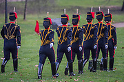 On the 100th anniversary of women getting the vote, Kings troop is led by female officers and has a high proportion of female troopers (here the guides prepare) - The King's Troop Royal Horse Artillery, ride their horses and gun carriages past Buckingham Palace to Green Park to stage a 41 Gun Royal Salute to mark the 66th Anniversary of the Accession of Her Majesty The Queen.