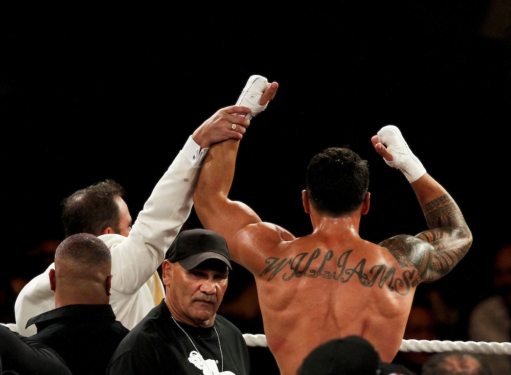 Sonny Bill Williams after beating Clarence Tillman in their New Zealand Heavyweight Title fight at Claudlands Event Centre, Hamilton, New Zealand, Wednesday, February, 2012. Credit:SNPA / John Cowpland
