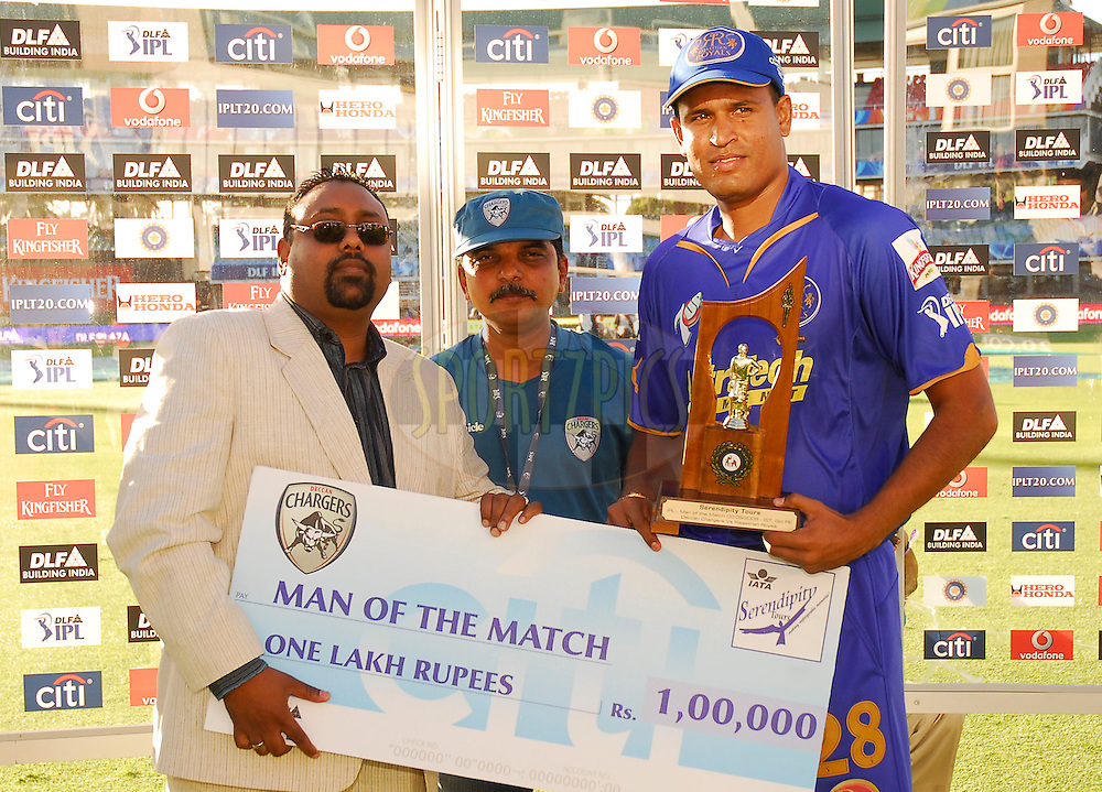 PORT ELIZABETH, SOUTH AFRICA - 2 May 2009.  Pathan, man of the match during the  IPL Season 2 match between the Deccan chargers vs Rajasthan Royals held at St Georges Park in Port Elizabeth , South Africa.