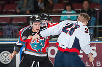 KELOWNA, CANADA - OCTOBER 31: Rodney Southam #17 of the Kelowna Rockets drops the gloves with Brady Reagan #28 of the Lethbridge Hurricanes on October 31, 2015 at Prospera Place in Kelowna, British Columbia, Canada.  (Photo by Marissa Baecker/Shoot the Breeze)  *** Local Caption *** Rodney  Southam; Brady Reagan;