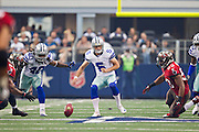 DALLAS, TX - SEPTEMBER 23:  Dan Bailey #5 of the Dallas Cowboys tries a onside kick against the Tampa Bay Buccaneers at Cowboys Stadium on September 23, 2012 in Dallas, Texas.  The Cowboys defeated the Buccaneers 16-10.  (Photo by Wesley Hitt/Getty Images) *** Local Caption *** Dan Bailey