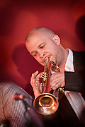 Joe Auckland on trumpet with the Tom Richards Orchestra at the Friday Tonic concert in 2008. Frontroom, Queen Elizabeth Hall, Southbank Centre, London