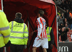 Stoke's Peter Crouch is sent off and walks down the tunnel - Photo mandatory by-line: Dougie Allward/JMP - Mobile: 07966 386802 - 29/10/2014 - SPORT - Football - Stoke - Britannia Stadium - Stoke City v Southampton - Capital One Cup - Fourth Round