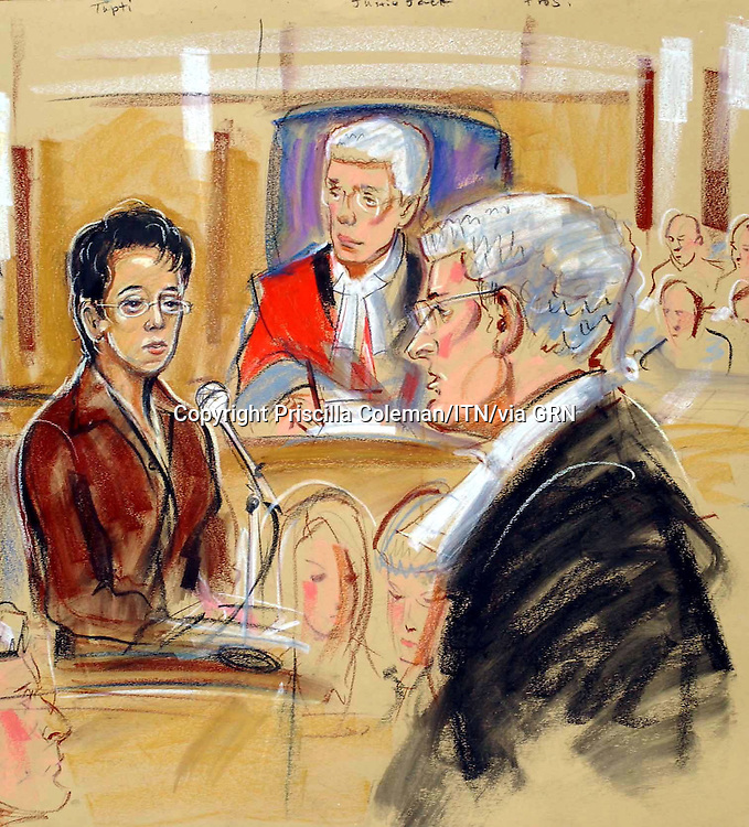 ©PRISCILLA COLEMAN ITV NEWS 22.05.03.SUPPLIED BY: PHOTONEWS SERVICE LTD OLD BAILEY.PIC SHOWS: Trupti Patel giving evidence at Reading Crown Court. Pictured also is defence barrister Kieran Coonan QC & Judge Justice Jack-SEE STORY.ILLUSTRATION: PRISCILLA COLEMAN ITV NEWS