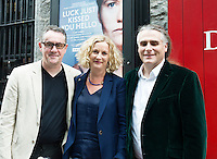 "John Crum Lish, GIAF with Orlaith McBride Director Art Council  and Paul Fahy GIAF at the World Premiere of the ""Luck Just Kissed you Hello""by Amy Conroy in the Mick Lally theatre (Druid) on the opening night of Galway international Arts Festival. Photo:andrew Downes xposure"