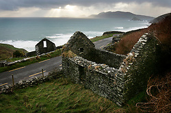 IRELAND KERRY DINGLE 3NOV05 - Ruins of old cottages near Slea Head with the Blasket Islands in the background off the Dingle Peninsula, Irelands most westerly county...jre/Photo by Jiri Rezac..© Jiri Rezac 2005..Contact: +44 (0) 7050 110 417.Mobile: +44 (0) 7801 337 683.Office: +44 (0) 20 8968 9635..Email: jiri@jirirezac.com.Web: www.jirirezac.com..© All images Jiri Rezac 2005 - All rights reserved.