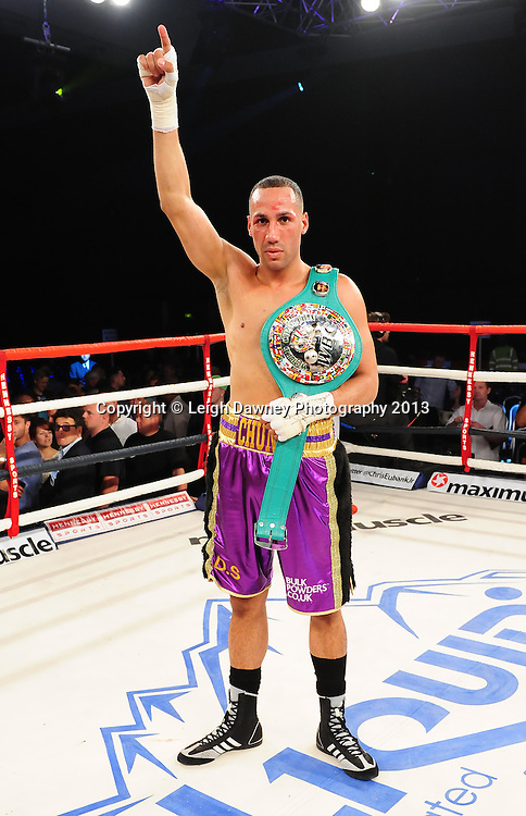 .James DeGale MBE defeats Stjepan Bozic. WBC Silver Super Middleweight  Title. Glow, Bluewater, Dartford, Kent, UK on 8th June 2013. Promoter: Hennessy Sports. Mandatory Credit: © Leigh Dawney