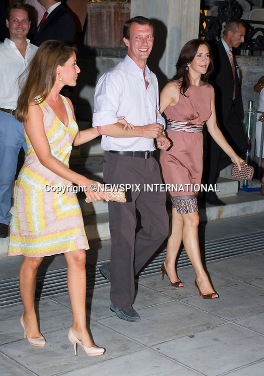 """Crown Princess Mary, Princess Marie and Prince Joachim_.A pre-Wedding eveing party on the island of Spetses prior to the wedding of Prince Nikolaos and Tatiana Blatnik tomorrow at St Nikolaos Church_24/08/2010.Mandatory Credit Photo: ©DIAS-NEWSPIX INTERNATIONAL..**ALL FEES PAYABLE TO: """"NEWSPIX INTERNATIONAL""""**..IMMEDIATE CONFIRMATION OF USAGE REQUIRED:.Newspix International, 31 Chinnery Hill, Bishop's Stortford, ENGLAND CM23 3PS.Tel:+441279 324672  ; Fax: +441279656877.Mobile:  07775681153.e-mail: info@newspixinternational.co.uk"""