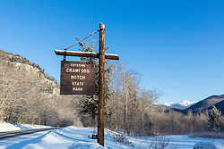 The entrance to New Hampshire's Crawford Notch State Park. Winter.