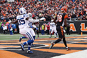 Cincinnati Bengals wide receiver A.J. Green (18) catches a second quarter touchdown pass that ties the score at 10-10 while Indianapolis Colts cornerback Pierre Desir (35) gives chase and  back judge Tony Steratore (112) looks on during the 2017 NFL week 8 regular season football game against the Indianapolis Colts, Sunday, Oct. 29, 2017 in Cincinnati. The Bengals won the game 24-23. (©Paul Anthony Spinelli)