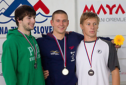 Toni Valcic of PK Ilirija, Robert Zbogar of PK Gorenjska banka Radovljica and Blaz Korosec of PK Ljubljana during Slovenia Open swimming Championship and MM Kranj 2011, on June 4, 2011 in Olympic pool, Kranj, Slovenia. (Photo By Vid Ponikvar / Sportida.com)