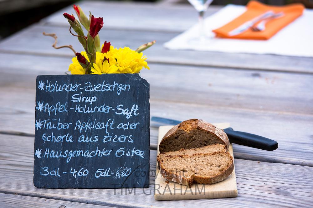 Drinks menu at lunch at Gasthaus Hohwald hotel restaurant in Klosters-Montbiel in Graubunden region, Switzerland