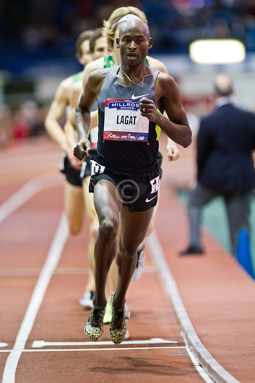 Millrose Games indoor track and field: mens two-mile, Bernard Lagat, Nike, sets American record