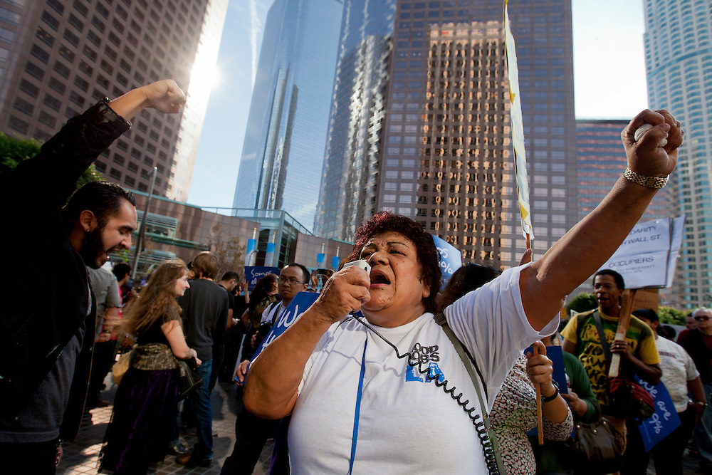 A supporter of the labor union Good Jobs LA takes part in the Occupy LA demonstration at Bank of America plaza in Los Angeles, Calif. on Thursday, November 17, 2011. (Photo by Gabriel Romero ©2011)