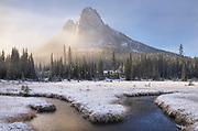 Fresh autumn snow on Liberty Bell Mountain and meadows of Washington Pass. North Cascades, Washington