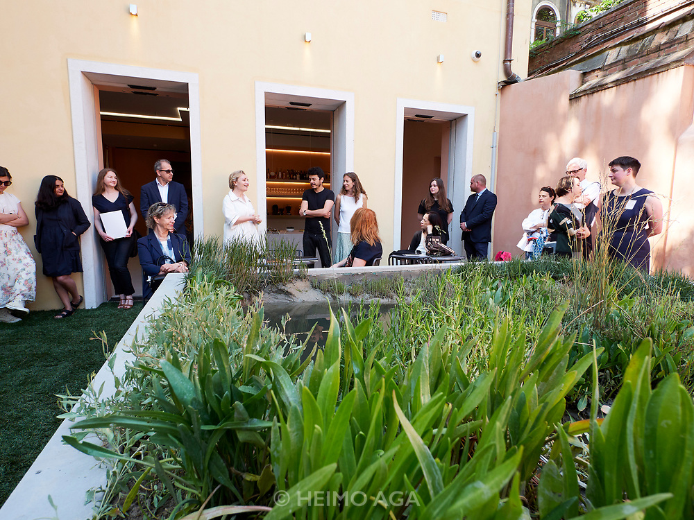 "Teresa Mavica, Director of the V-A-C Foundation (m., white shirt) is launching ""sudest 1401"", a new project with Hamed Ahmadi (to her right) and his Venice based restaurant Orient Experience at their Venice headquarters Palazzo delle Zattere."