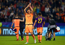 MARIBOR, SLOVENIA - Tuesday, October 17, 2017: Liverpool's Dejan Lovren applauds the supporters after the 7-0 victory during the UEFA Champions League Group E match between NK Maribor and Liverpool at the Stadion Ljudski vrt. (Pic by David Rawcliffe/Propaganda)