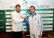 Wroclaw 31/01/2013.Davis Cup .Poland vs Slovenia.Lukasz Kubot and Grega Zemlja.Photo by : Piotr Hawalej