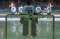 KELOWNA, CANADA - OCTOBER 10:  Liam Hughes #30 of the Seattle Thunderbirds stands in net at the start of the game against the Kelowna Rockets  on October 10, 2018 at Prospera Place in Kelowna, British Columbia, Canada.  (Photo by Marissa Baecker/Shoot the Breeze)  *** Local Caption ***