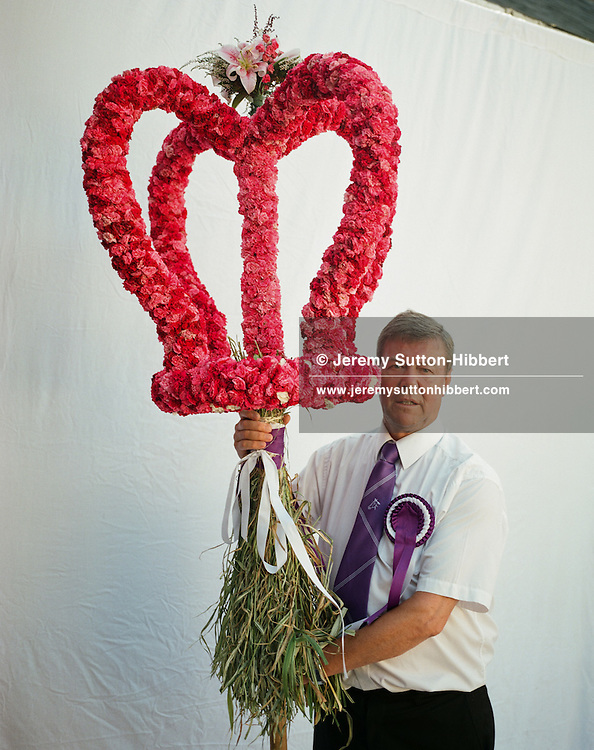 Kevin Irving, Emblem Bearer of the Crown, Langholm Common Riding, Scotland on 25th July 2014.