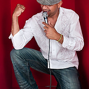 "Portrait of Gonzalo ""Chalo"" Chomat, singer for Rumbankete, a Los Angeles, California-based salsa orchestra, taken in Woodland Hills, Calif., on April 3, 2010, for the band's promotional use and album cover.  Photo by Jen Klewitz.  (Jen Klewitz © 2010)"