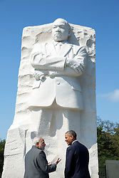 President Barack Obama and Prime Minister Narendra Modi of India visit the Martin Luther King, Jr. Memorial on in Washington, D.C., Sept. 30, 2014. (Official White House Photo by Pete Souza)<br /> <br /> This official White House photograph is being made available only for publication by news organizations and/or for personal use printing by the subject(s) of the photograph. The photograph may not be manipulated in any way and may not be used in commercial or political materials, advertisements, emails, products, promotions that in any way suggests approval or endorsement of the President, the First Family, or the White House.