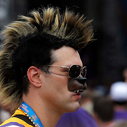 Jan 9, 2012; New Orleans, LA, USA; LSU Tigers fan Troy Blanchard before the 2012 BCS National Championship game against the Alabama Crimson Tide at the Mercedes-Benz Superdome.  Mandatory Credit: Derick E. Hingle-US PRESSWIRE