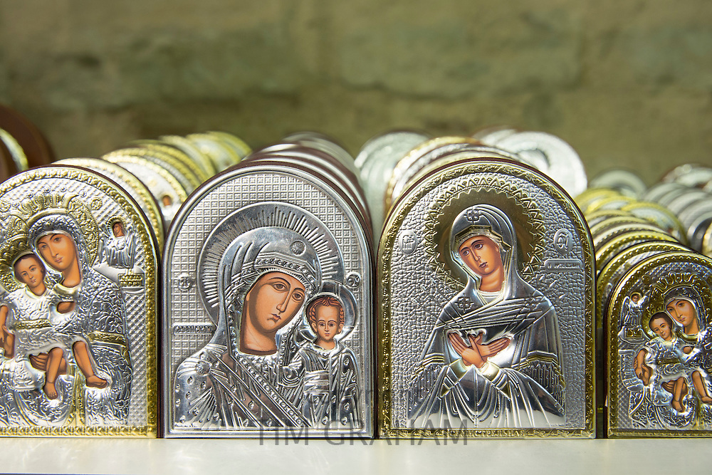 Religious icons in Church of St Saviour in Chora, the Kariye Museum St Savior in souvenir gift shop, Istanbul Republic of Turkey