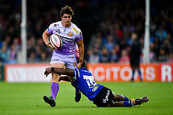 Tom Hendrickson of Exeter Chiefs is tackled by Levi Davis of Bath Rugby - Mandatory by-line: Ryan Hiscott/JMP - 21/09/2019 - RUGBY - Sandy Park - Exeter, England - Exeter Chiefs v Bath Rugby - Premiership Rugby Cup