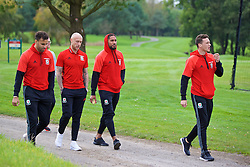 CARDIFF, WALES - Friday, October 7, 2016: Wales' Hal Robson-Kanu, Simon Church, captain Ashley Williams and Hal Robson-Kanu during a team walk at the Vale Resort ahead of the 2018 FIFA World Cup Qualifying Group D match against Georgia. (Pic by David Rawcliffe/Propaganda)