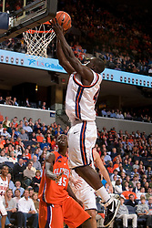Virginia guard/forward Solomon Tat (45) leaps for a layup against Clemson.  The Virginia Cavaliers men's basketball team fell the Clemson Tigers at 82-51 the John Paul Jones Arena in Charlottesville, VA on February 7, 2008.